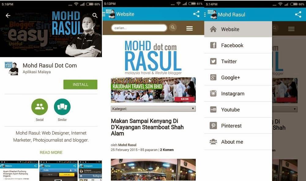 Aplikasi Blog Pada Telefon Pintar
