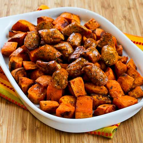 Roasted Spicy Sweet Potatoes and Chicken Sausage