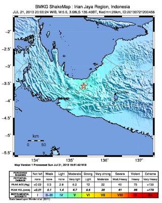 Epicentro sismo 5,5 grados, Indonesia, 21 de Julio 2013