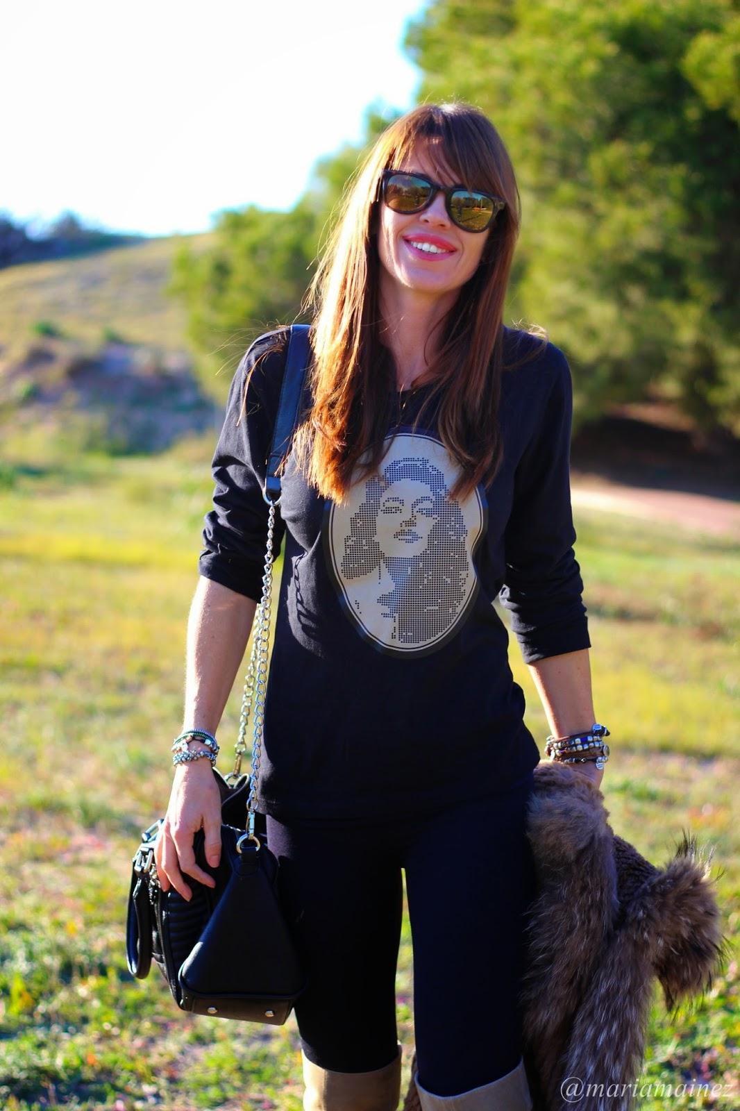 Negro + camel - Outfit invierno 2014/15 - Chaleco pelo, botas UTK - Buffalo London- Cuchicuchi pulseras