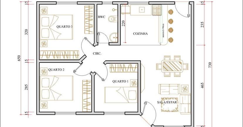 Plantas de casas de campo com 3 quartos e varanda for Jardins mangueiral planta 3 quartos