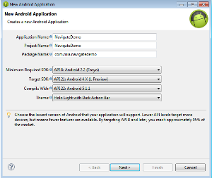 Application as NavigateDemo and package name as com.mia.navigatedemo