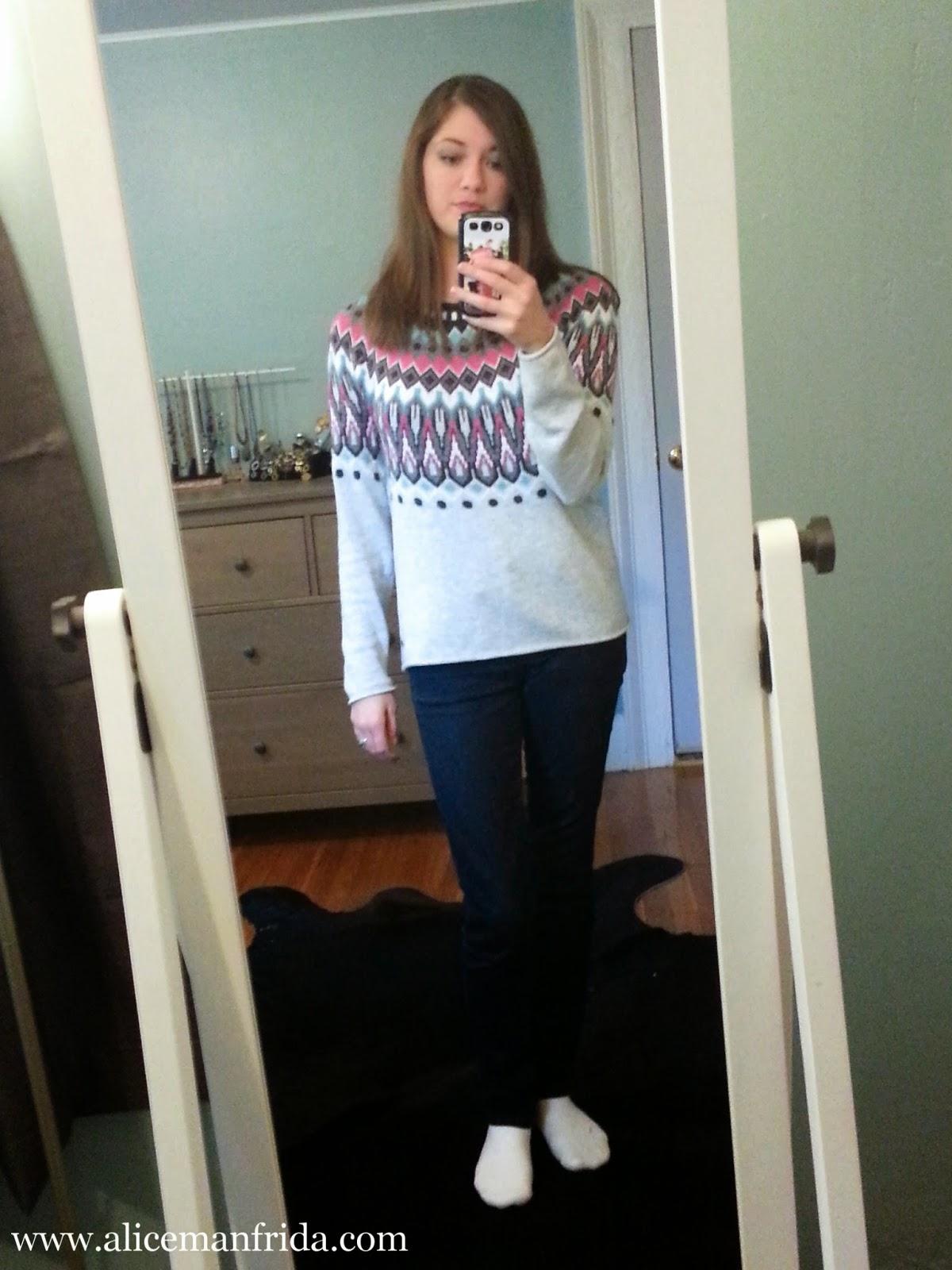 dark skinny jeans, ski sweater, cozy, warm, autumn, ootd