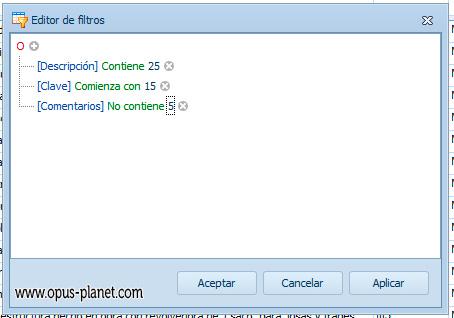 Opus Planet Editor de filtros