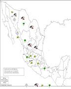 Mapa geográfico (Actividades primarias en México). (mapa )