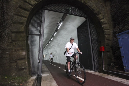 Túnel ferroviario é transformado em ciclovia