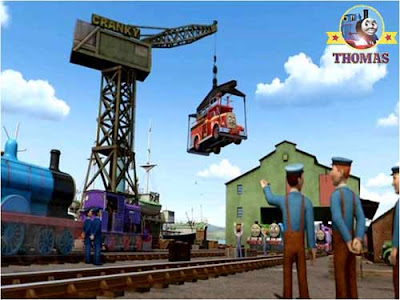 Charlie train Thomas and friends Flynn the fire engine truck on Cranky the crane at Brendan dockyard