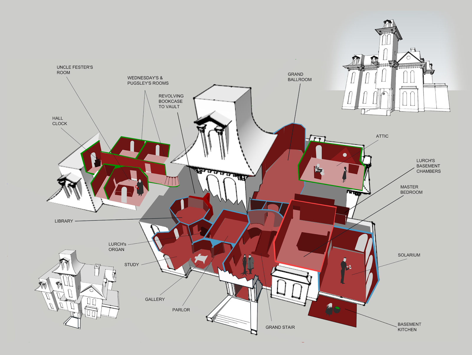 Stinson Lenz Freelance Design Wip The Addams Family Mansion 1991