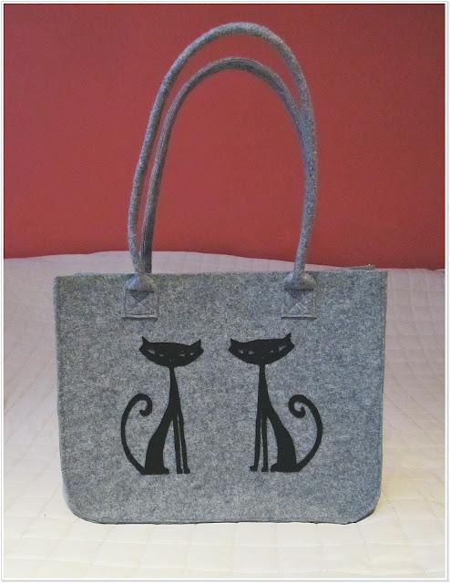 Filcowa pojemna torba z kocim motywem