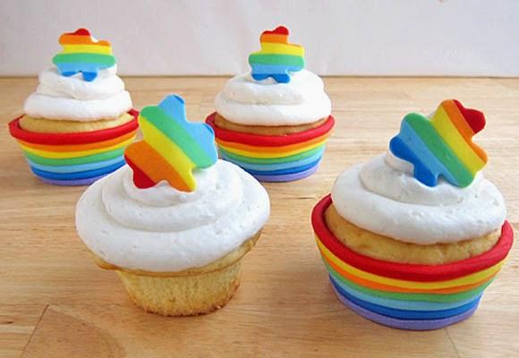Cupcakes con capsula arco iris