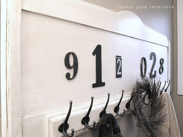A numbered headboard towel rack - a bathroom reveal via Funky Junk Interiors