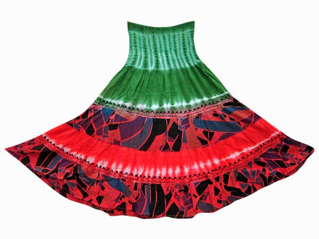 www.bonanza.com/listings/Boho-Gypsy-Long-Skirts-Smocked-Waist-Red-Green-Tie-Dye-Print-Hippie-Skirt-32-/184086309