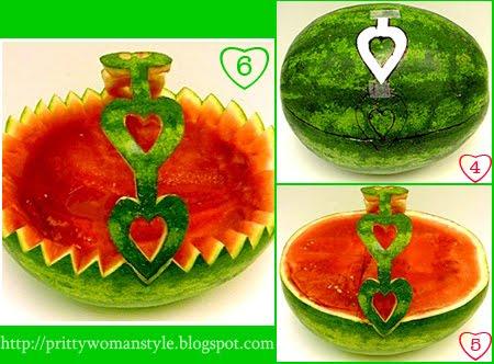 декорация с плодове - кошница от диня