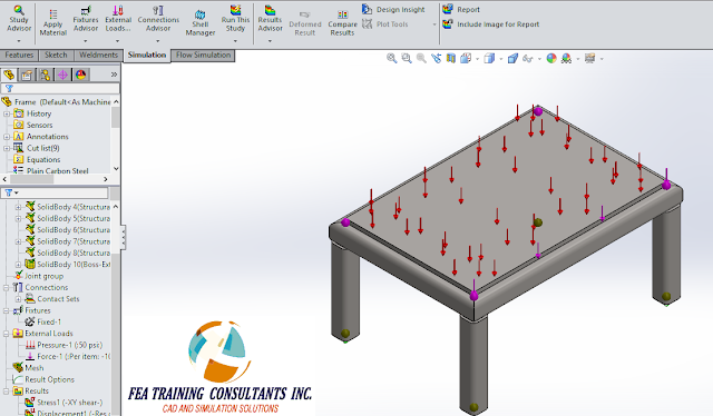 welded structure conctact sets solidworks simulation
