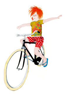 illustration of a girl riding without hands on her bike by Robert Wagt