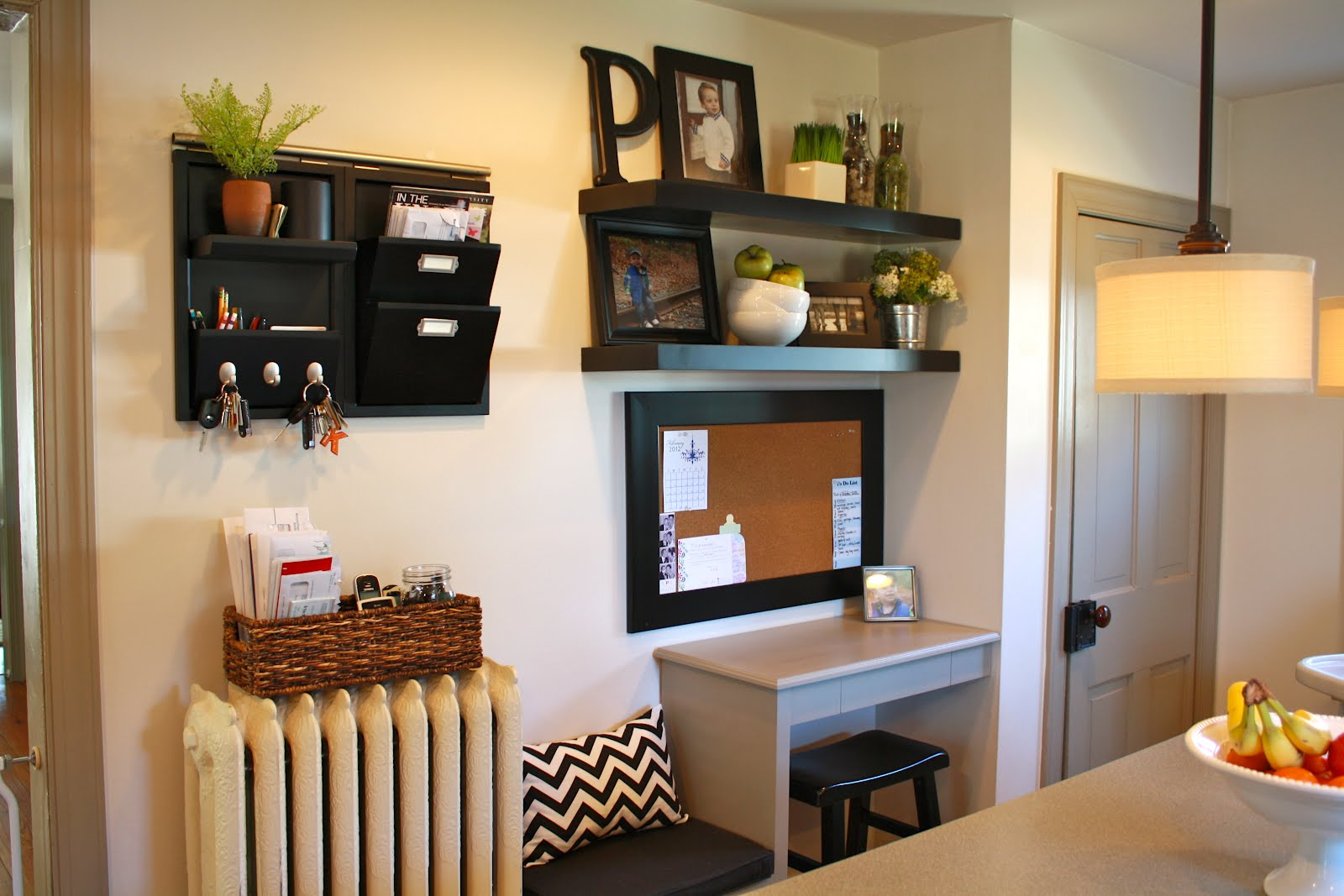 Studio lime design home improvements kitchen message center for Kitchen drop zone ideas