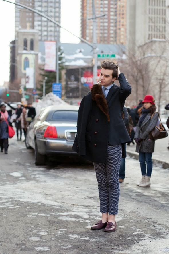 mens street style new york new york fashion week 2014 fall winter tassel loafters gray pants blue blazer fur colar coat