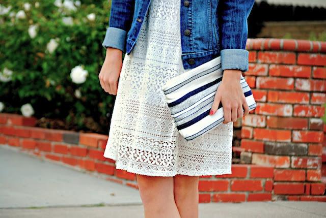 LOFT clutch // white dress // Old Navy denim jacket