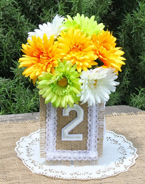 burlap wedding table number centerpiece