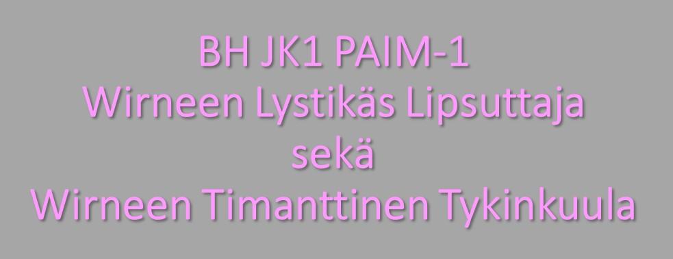 BH JK1 PAIM-1 Wirneen Lystikäs Lipsuttaja sekä Wirneen Timanttinen Tykinkuula