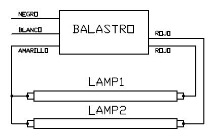 Conexion de balastro de lampara fluorescente