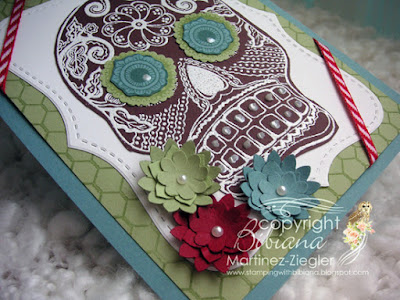 day of the dead card front skull