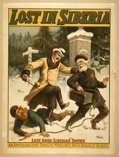 art, classic posters, free download, graphic design, movies, retro prints, theater, vintage, vintage posters, Lost in Siberia, Lost Amid Siberian Shows - Vintage Theater Poster