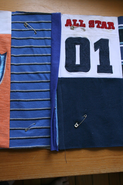 Tangible Pursuits: T-shirt Quilt - joining the blocks