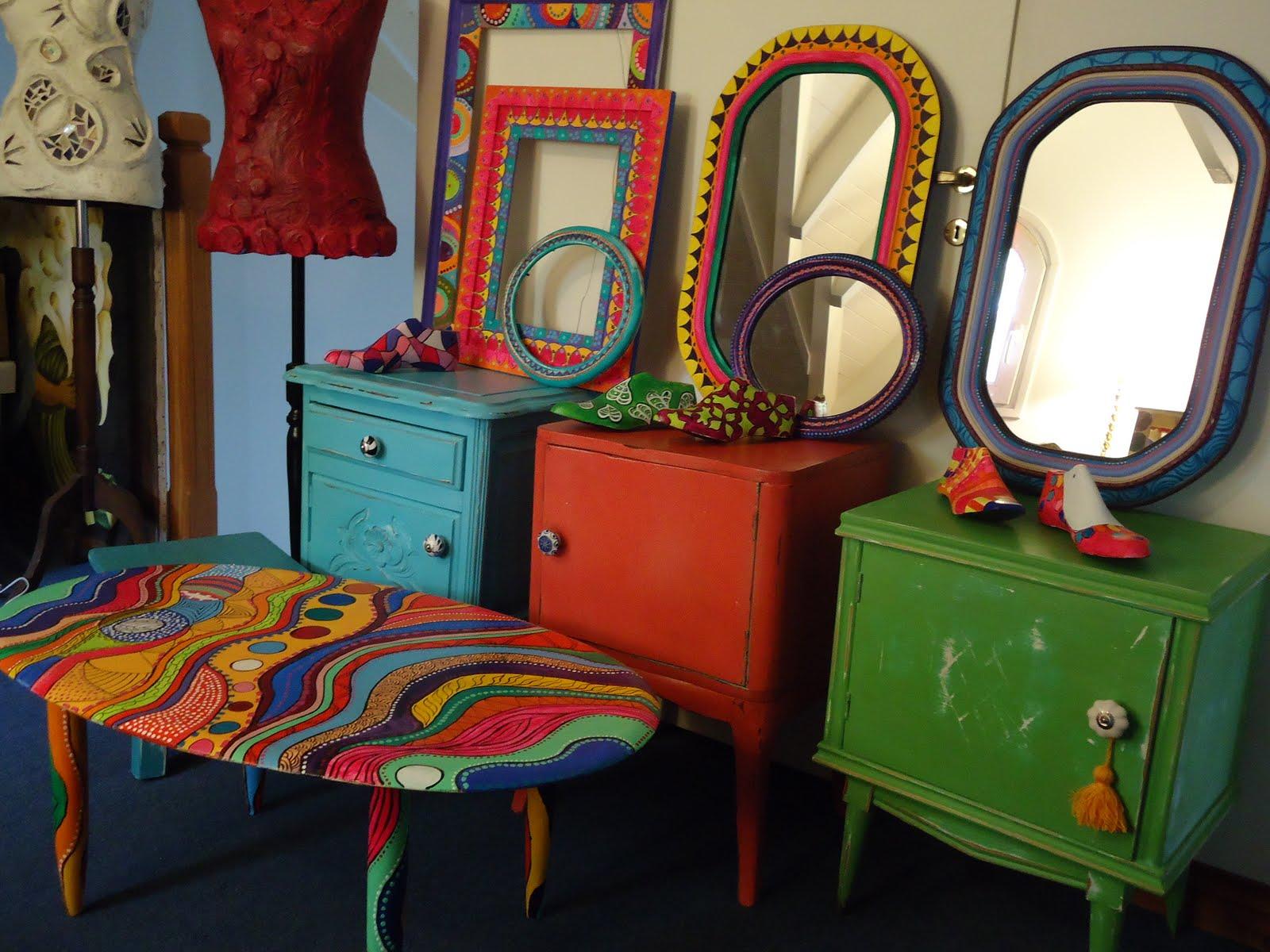 Vintouch muebles reciclados pintados a mano marcos - Muebles de mimbre pintados ...