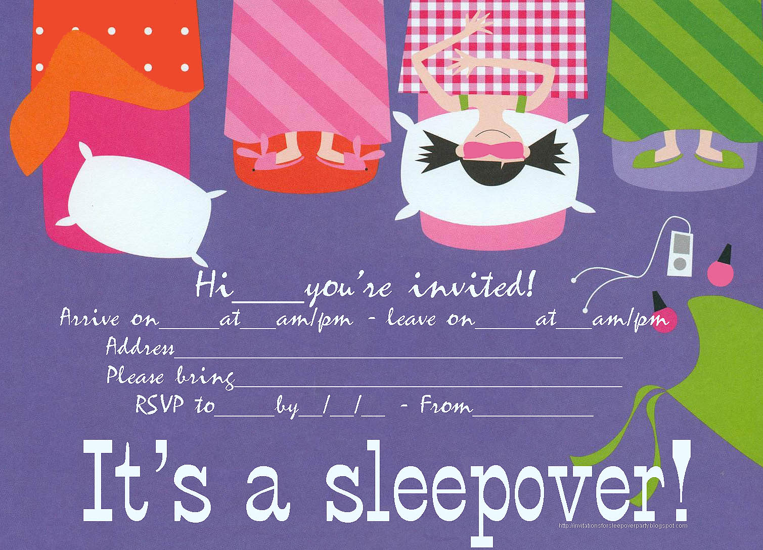 printable slumber party invitations, Party invitations