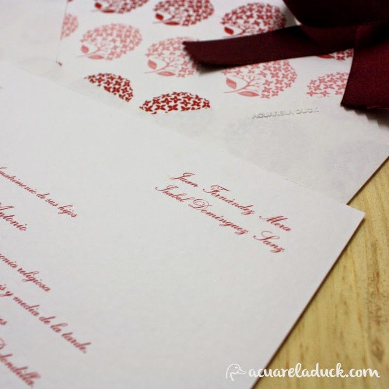 invitaciones sobres forrados