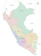 Representa el mapa las principales divisiones territoriales del Perú en el . (peru intendencias)