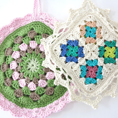 vintage, potholder, handmade, pastel, organic yarn, Haafner