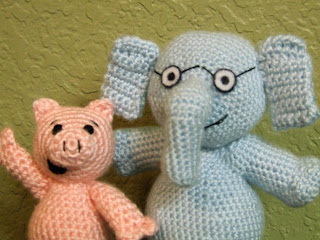 Crochet Piggie and Gerald Dolls based off of Mo Willems books