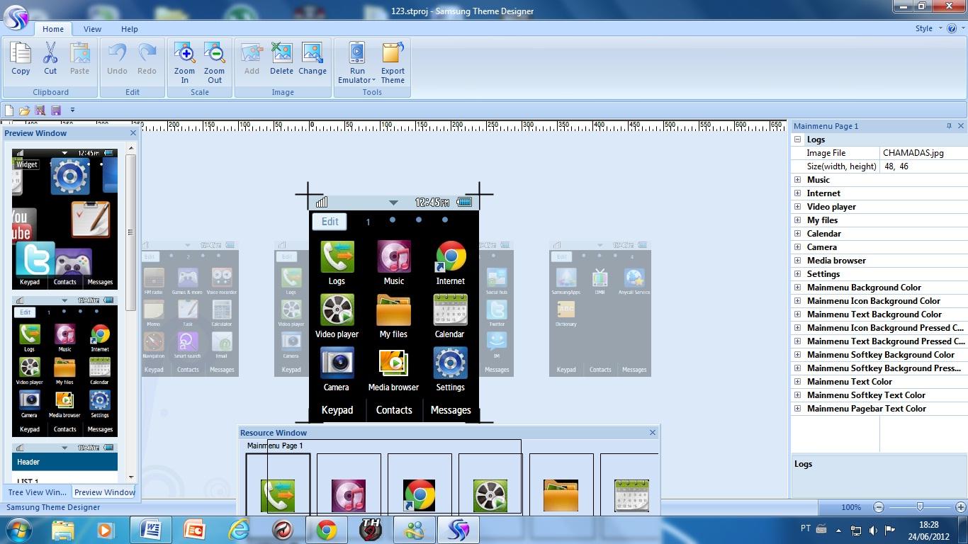Designer-Criador de temas para celular samsung (incluindo corby 2