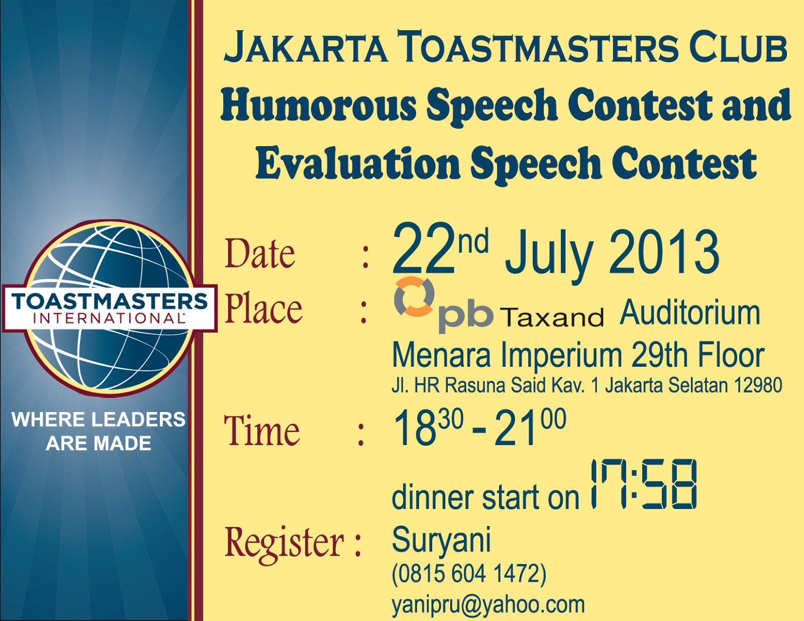 toastmaster speech When the toastmaster calls upon you to explain your role, stand up and use the following as an example to explain your role to the audience: my role as timer is to monitoring time during prepared speeches, table topics and.