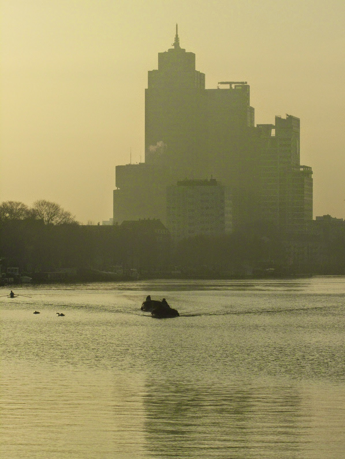 highrises at the river Amstel
