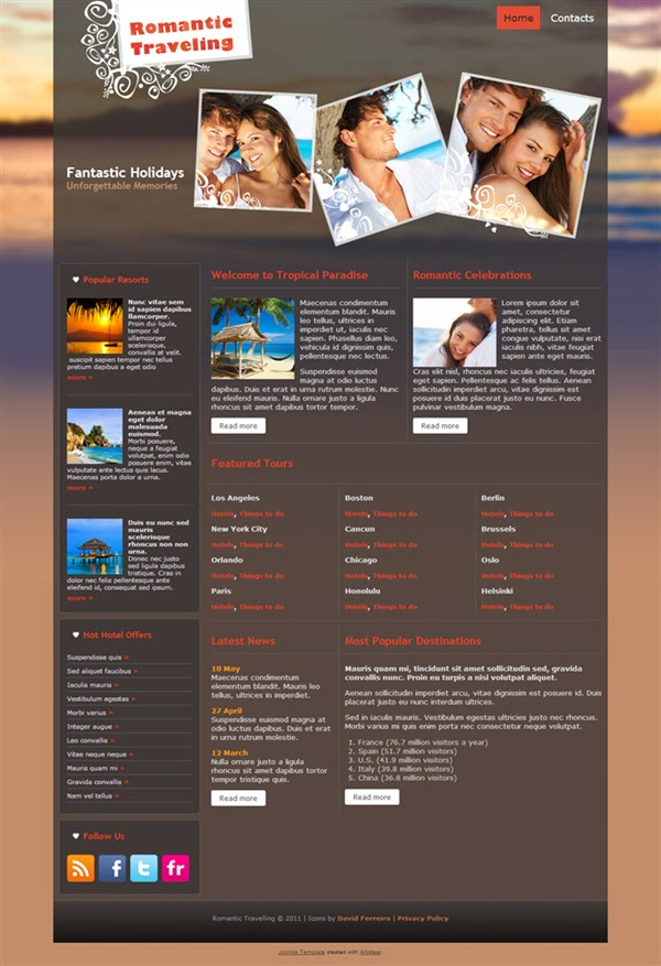Romantic Travelling - Free Joomla! Template