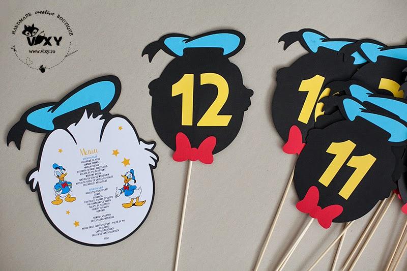 pachet petrecere Donald Duck, numar masa Donald Duck, meniu Donald Duck, meniu personalizat, plic dar personalizat, petrecere personalizata, produse handmade