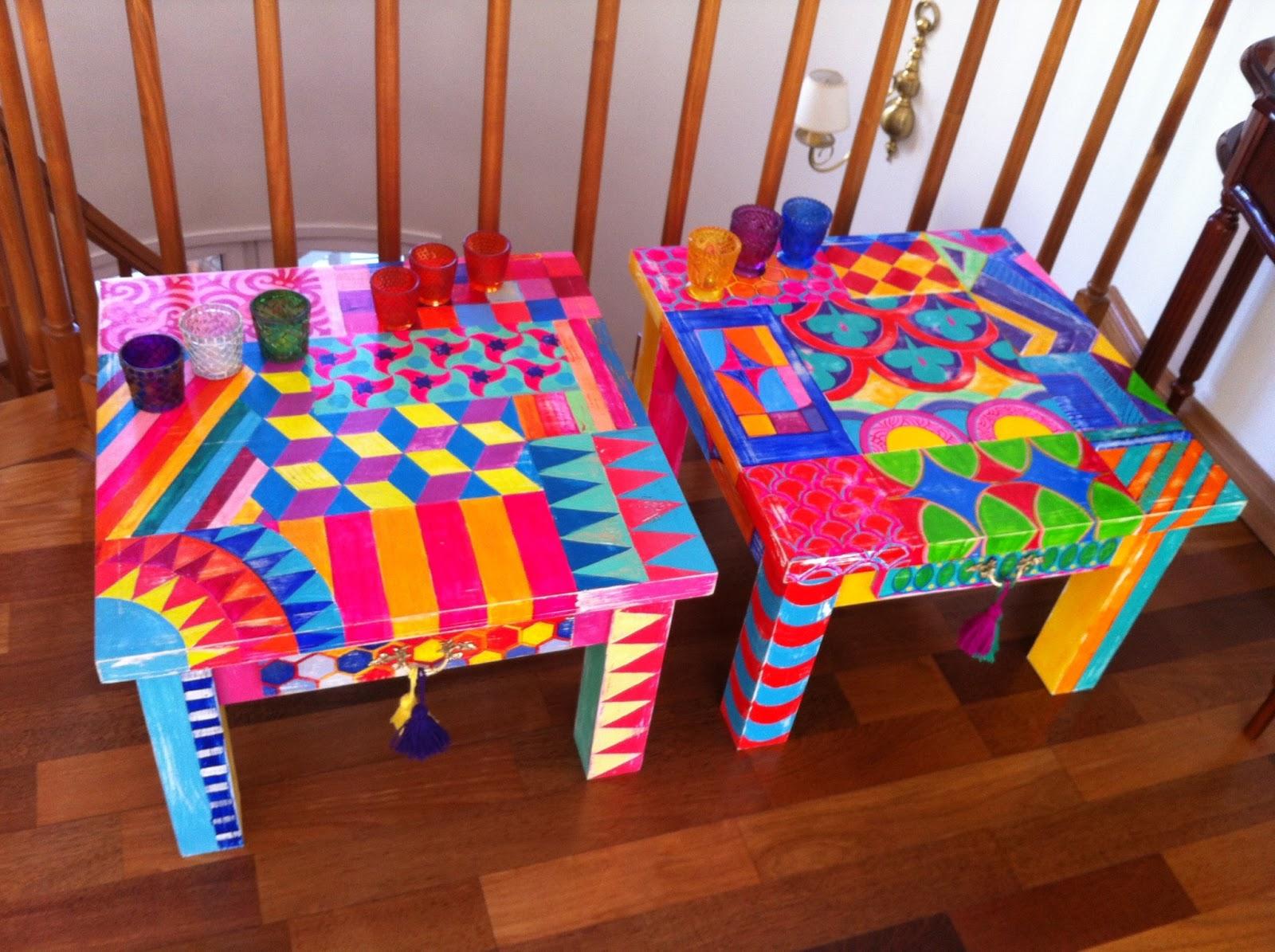 Vintouch muebles reciclados pintados a mano mesas - Muebles de colores pintados ...
