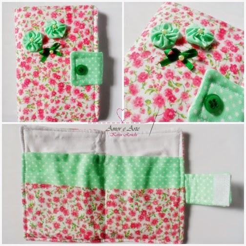 Carteira em tecido - Tropical 3 - Rosa Liberty e Poá Verde