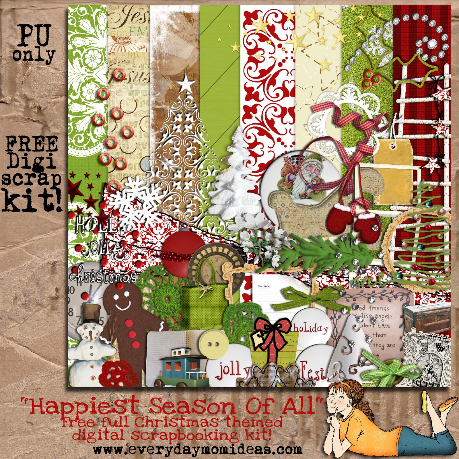 Digital scrapbooking kits free all about scrapbooking ideas -  Happiest Season Of All Free Digital Scrapbooking Kit Now Through Media Fire