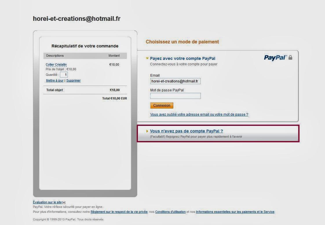 Horei cr ations tutoriel comment payer par carte bancaire avec paypal - Payer en 3 fois avec paypal ...