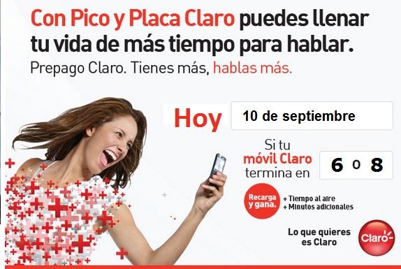 placa claro colombia hoy Lunes 10 septiembre 2012 hoy es dia pico y