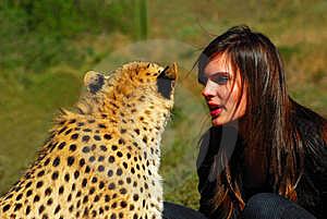 wanita dengan macan tutul wanita dengan harimau wanita dengan macan