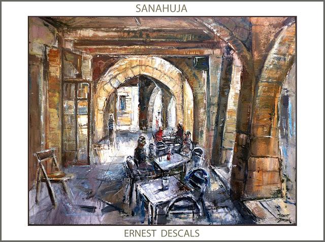 SANAHUJA-PINTURA-CAFETERIA-VOLTES-PAISATGES-LLEIDA-PINTURES-CATALUNYA-LA SEGARRA-ARTISTA-PINTOR-ERNEST DESCALS--