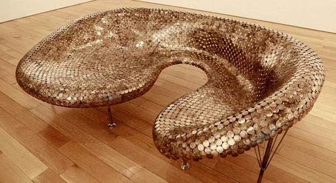 The art of up cycling upcycling ideas old coin sculpture - Floor made out of pennies ...