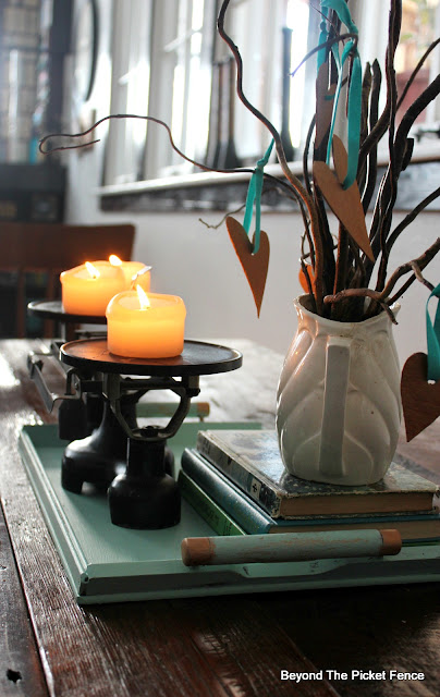 centerpiece, tray, scale, balance, candles, fusion mineral paint, ironstone, twigs, DIY, http://bec4-beyondthepicketfence.blogspot.com/2016/01/how-to-make-centerpiece.html