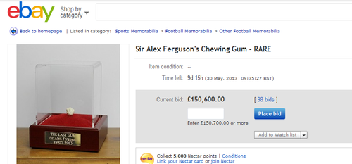 alex ferguson gum ebay auction