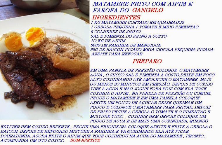 MATAMBRE FRITO AIPIM E FAROFA COM BAICON